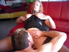 leather group sex leads to cum on boobs