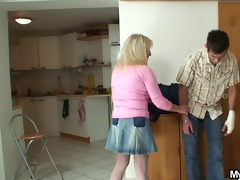 blond mother in law rides his big rod