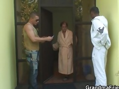 granny swallows two cocks at one time