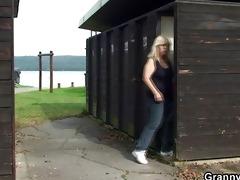 blonde granny ride strangers cock on public