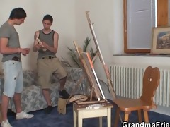 old bitch acquires banged by young painters