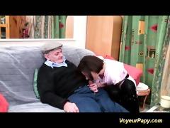 lascivious voyeur papy fucks nymph in threesome