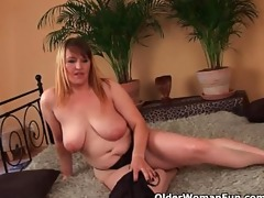large boobed mom enjoys his fist and cock in her