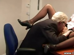 old geezer goes down on young slut on his office