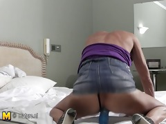 aged whore mother playing with herself