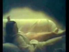 sister masturbating on daybed caught by hidden cam