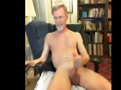 skinny bearded gray daddy play on web camera