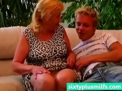 bulky granny seduces younger boy