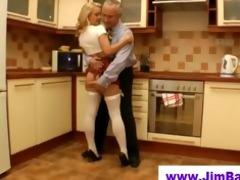 old fellow fucks blond in short skirt