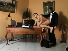 muscular chap in a suit fucks younger wench in