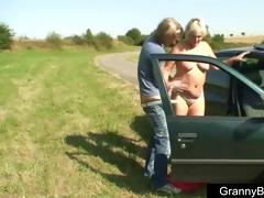 granny fucked in the car
