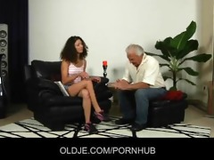 young curly-babe fucked in ass by an oldman