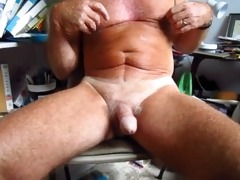 old man handles his 75 year old circumcised cock