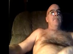 silver furry dad watching porn and cums on his