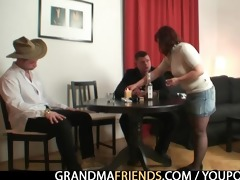 poker playing granny getting fucked by two guys