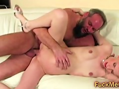 curly old stud fucks diminutive blond ass