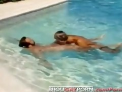 classic gay macho poolside sex from bullet
