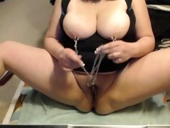 playing with nipple and clit clamps
