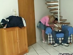 old blonde jumps on giant meat