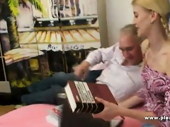 daddy copulates his skinny blond sugarbaby