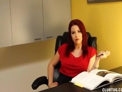 nasty boss jerks off her employee