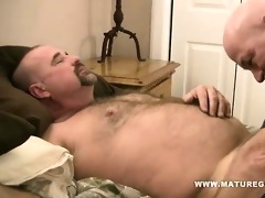 bearish daddy copulates his skinny bald friends