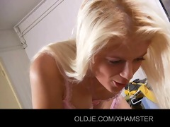 horny juvenile golden-haired tease her old