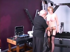 young blond gets dog training from mature dom len