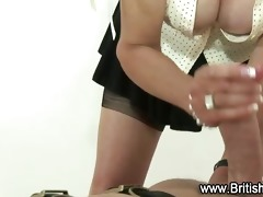 old bitch gives tugjob to younger guy
