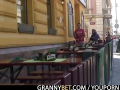 moaning granny rides juvenile meat