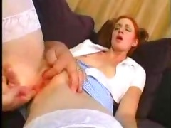 young redhead gal fucked by older guy