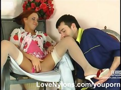 leggy chick has her nylons cummed all over