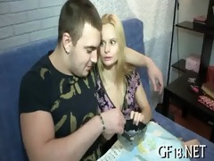 sweet-looking legal age teenager girl takes hard