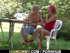 busty mama seduces his cute cutie
