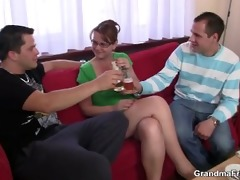 drunk threesome party with old chick