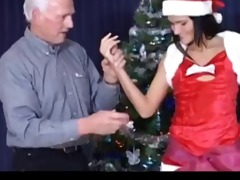 old guy fuck beautiful brunette at christmas