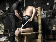 chubby guy tied, spanked and cummed on - pig dad