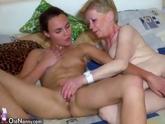 precious young woman and old granny masturbated